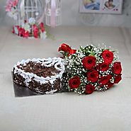 10 Red Roses with Fillers and 1 Kg Heart Shaped Black Forest Cake