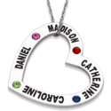Open Heart Necklace with Kids Names and Birthstones