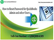 Reset password for QuickBooks Admin and other users