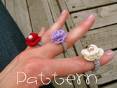 PATTERN- PDF- Lovely Rosette Ring- Crochet
