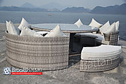 Champagne Space-saving Cylinder Dining Set in Mixed Grey Rattan