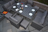 Serena 6 Seat Sofa Lounge Cube Set with Armchairs, Footstools and Coffee Table in Grey Rattan