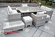 Champagne 6 Seat Sofa Lounge Cube with Armchairs, Footstools and Coffee Table in Mixed Grey Rattan