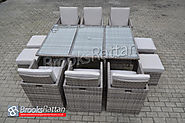 Champagne 6 seat Cube with 4 Storage Footstools