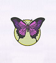 Moonlit Purple Butterfly Embroidery Design | EMBMall