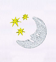 Sleeping Moon and Shining Stars Embroidery Design | EMBMall