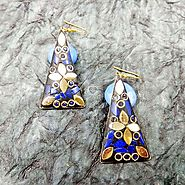 Buy and Send triangular hanging hook earrings, Golden Petal with bule chips inlay work Gifts Online Delivery Across I...