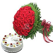 Bunch of 50 red roses with 1/2 kg pineappale cake- OyeGifts.com