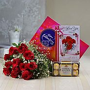Cadbury Celebrations with Bunch of 12 Red Roses & Ferrero Rocher Box