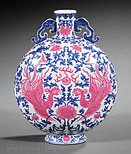 Pink Enameled Blue And White Porcelain Moonflask