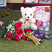 Send Birthday Roses with Assorted Chocolates and Teddy Bear Only For You Same Day Delivery - OyeGifts