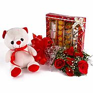 Buy/Send Assorted Sweet Box with Red Roses and Teddy Bear Combo - YuvaFlowers