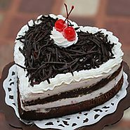 Buy/Send Heartshape Black Forest Cake - YuvaFlowers
