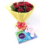 Buy/Send Red Roses Celebration Teddy` Online - YuvaFlowers.com