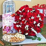 Buy/Send Red Roses with Assorted Dryfruit and Birthday Greeting Card - YuvaFlowers