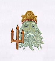 White Bearded King Triton Embroidery Design | EMBMall