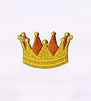 Iconic Pointed Golden Yellow Crown Embroidery Design | EMBMall