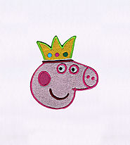 Crown Adorning Peppa Pig Embroidery Design | EMBMall