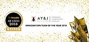 A Y & J Solicitors Corporate Immigration Team Wins Relocate Award: Immigration Team of the Year 2018