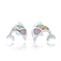 925 Sterling Silver Multi-Colored Mother of Pearl Shell Dolphin Fish Post Stud Earrings 11 mm Fashion Jewelry for Wom...