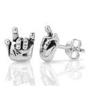 "925 Oxidized Sterling Silver ""I Love You"" Hand Sign Post Stud Earrings 10 mm Jewelry for Women, Teens, Girls - Nickel..."