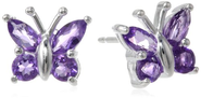 Sterling Silver Amethyst Butterfly Earrings