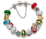 Christmas Holiday Charm Bracelet with Trees, Stars, Snowflake, Red & Green Lampwork Beads; European Style Compatible ...