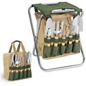 Amazon.com: Picnic Time 5-Piece Garden Tool Set With Tote And Folding Seat: Patio, Lawn & Garden