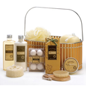 Spicy Warm Vanilla Spa Bath Body Bamboo Gift Basket