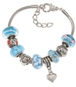 "Silvertone 7"" + 1"" Extension Murano-style ""Mom""-Themed Blue Glass Beads with Heart Charm Bracelet for Mother's Day"