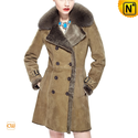 Women Vintage Leather Shearling Pea Coat CW640230