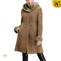 Knee Length Hooded Shearling Coat for Women CW640239