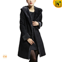 Long Hooded Shearling Sheepskin Coat Women CW640210