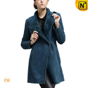 Women Merino Shearling Coats Blue CW640231