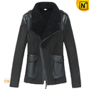Cropped Leather Shearling Jacket for Women CW640102