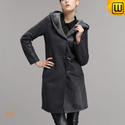 Hooded Shearling Trench Coat for Women CW640255
