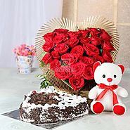 1 Kg Heart Shaped Black Forest Cake & 25 Red Roses with Teddy