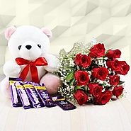 Bunch of 12 Red Roses with 12 Inch Teddy & 5 Dairy Milk Chocolates