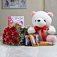 Bunch of 10 Red Roses with 12 inch Teddy Bear & Assorted Chocolates