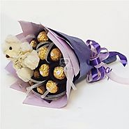 A bouquet of 16 Ferrero Rochers chocolate which comes with a lovely teddy.