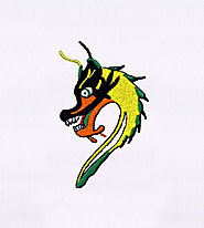 Angry Green and Yellow Dragon Embroidery Design | EMBMall