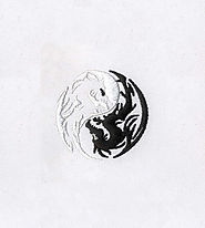 Monotone Yin and Yang Dragons Embroidery Design | EMBMall