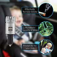 Car Air Purifier by AutoKraze | Plug In Air Freshener | Durable Ionizer - Removes Smoke, Pet Smell, Dust, Pollen, Foo...