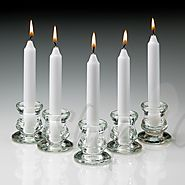White Taper Candles | 6 Inch With Glass Holders On Shopacandle