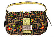 Fendi Zucca Floral Embellished Mini Baguette Shoulder Bag