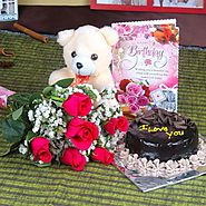 Buy/Send Roses and Chocolate Cake Hamper Including Teddy Bear with Birthday Greeting Card - YuvaFlowers