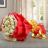 Buy/Send Rocher Choco Bouquet - YuvaFlowers