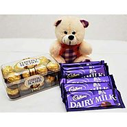 Buy/Send ATTRACTIVE TEDDY ROCHER WITH CHOCOLATES - YuvaFlowers