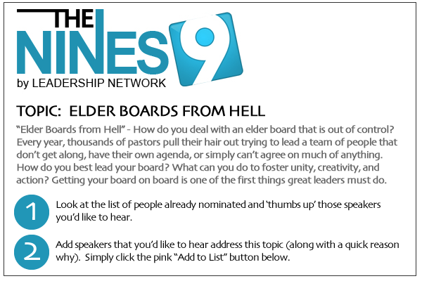 Headline for 2012 NINES Speaker Suggestions - Elder Boards