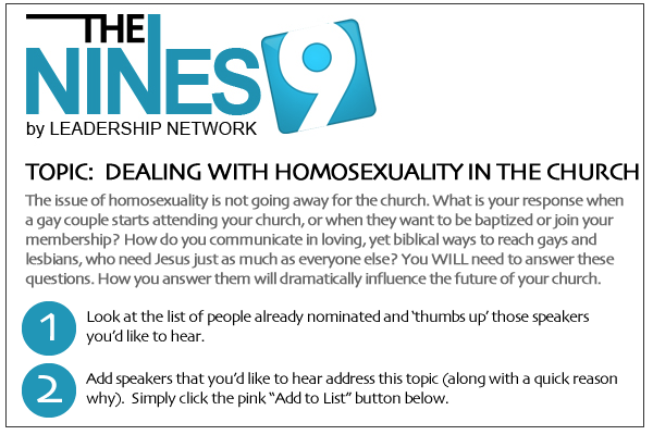 Headline for 2012 NINES Speaker Suggestions - Homosexuality